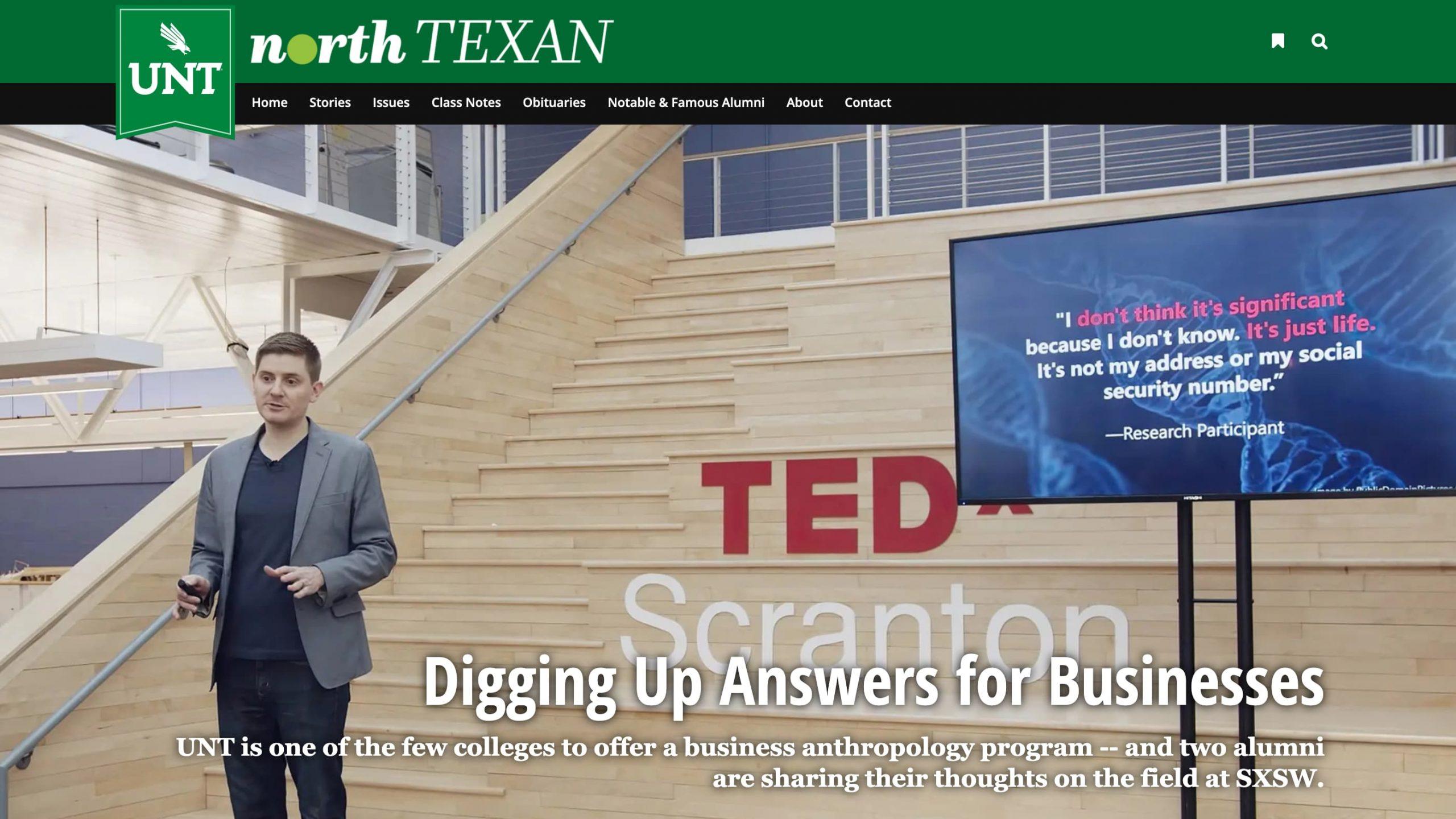 Matt Artz Featured in the UNT North Texan
